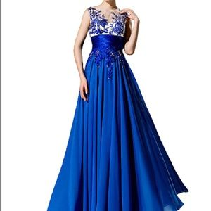 Chiffon A-line Jewel Blue Gown with Appliques